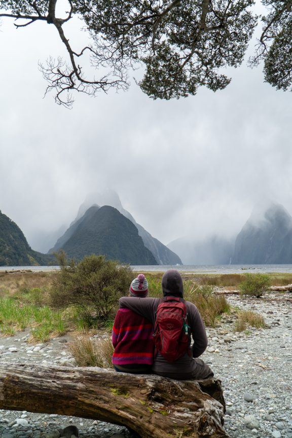 Couple Looking out over Milford Sound