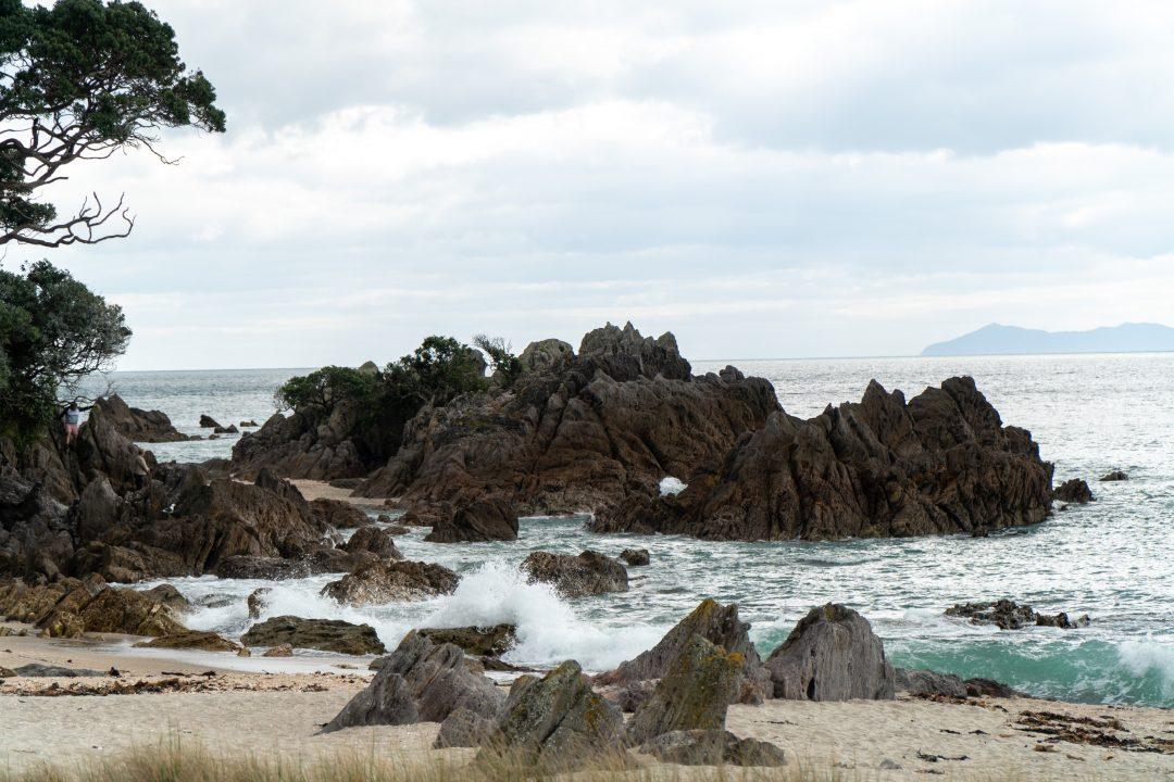 Crashing waves at Bay of Plenty Mount Maunganui, New Zealand.