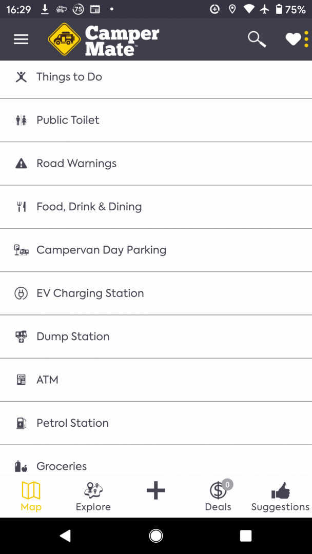 Campermate travel app screenshot list of filters