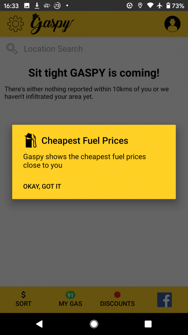 Gaspy travel app screenshot 1