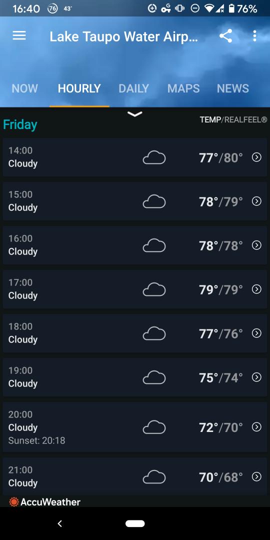 Accuweather travel app hourly forecast