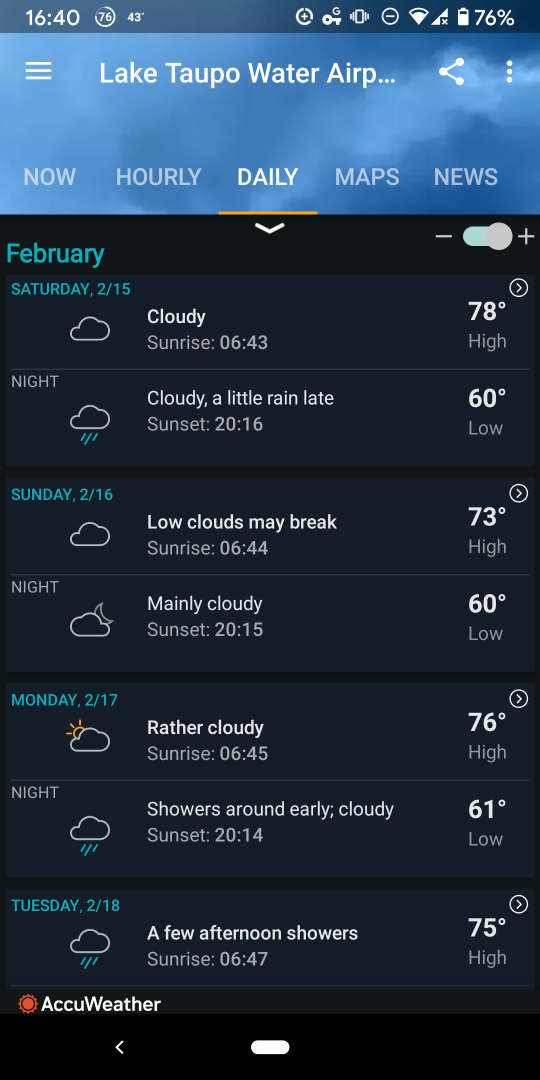 Accuweather weekly forecast screenshot