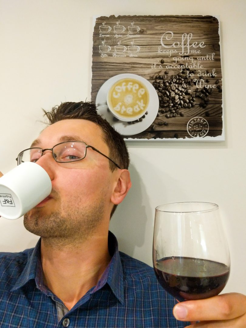 Man drinking coffee and wine